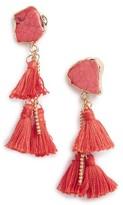 Sole Society Women's Stone Tassel Drop Earrings
