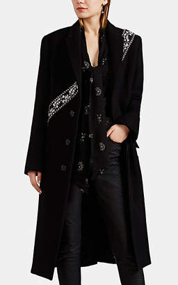 Amiri Women's Embellished Wool-Blend Melton Topcoat - Black