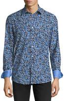 Bugatchi Shaped-Fit Blue Pattern Woven Sport Shirt