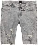 River Island Grey Acid Wash Ripped Skinny Fit Denim Shorts