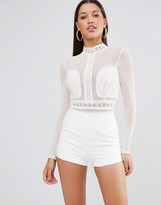 Missguided Lace Embroidered Romper