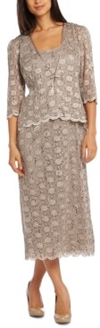 R & M Richards Sequined Lace Sheath Dress and Jacket
