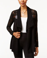 Thalia Sodi Lace-Trim Open-Front Cardigan, Only at Macy's