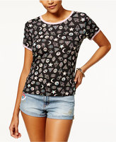 Ultra Flirt Juniors' Printed Ringer T-Shirt