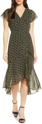 Sam Edelman Side Ruched Chiffon Midi Dress