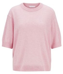 HUGO BOSS Relaxed Fit Sweater In Pure Cashmere With Cropped Sleeves - Light Purple