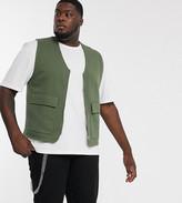 Asos Design DESIGN Plus jersey utility vest in khaki