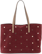 Neiman Marcus Studded Faux-Suede Tote Bag, Wine