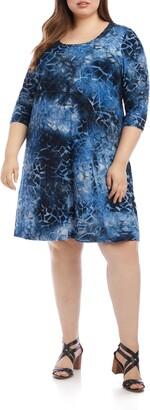 Karen Kane Tie Dye Geo Burnout A-Line Dress
