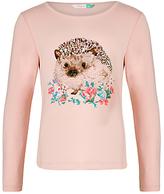 John Lewis Girls' Hedgehog T-Shirt, Pink