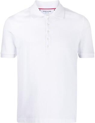 Thom Browne Pique Rib Cuff Short Sleeve 4-Bar Polo