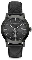 Burberry Ionic Plated Stainless Steel & Leather Chronograph Watch