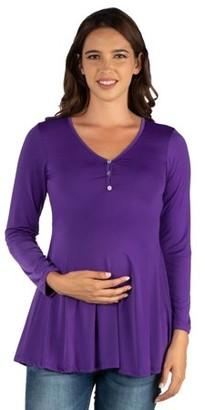24/7 Comfort Apparel 24seven Comfort Apparel Flared Long Sleeve Henley Maternity Top