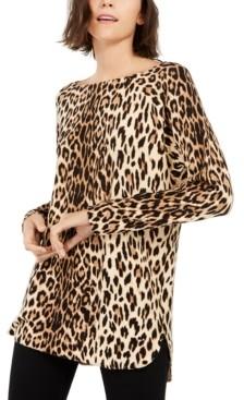 INC International Concepts Inc Petite Leopard-Print Shirttail-Hem Tunic Sweater, Created for Macy's