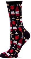 Hot Sox Wine Print Crew Socks