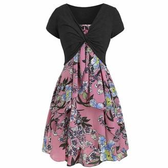 SANFASHION Women Casual Summer Cami Flower Dress with Crop T-Shirt(Pink M)