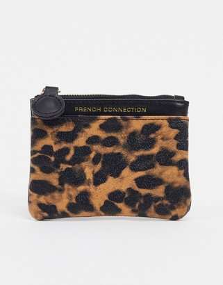 French Connection Faux Leather and Leopard Small Coin Ladies' wallet