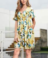 Reborn Collection Women's Casual Dresses Yellow - Yellow & Aqua Floral Ruffle-Sleeve Dress - Women