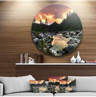 """Designart 'Rocky Mountain River At Sunset' Extra Large Wall Art Landscape - 38"""" x 38"""""""