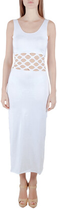 Jean Paul Gaultier Soleil White Cotton Jersey Distressed Waist Bodycon Dress S