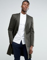 Asos Slim Longline Cotton Blazer In Green With Pocket Detail