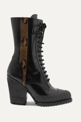 Chloé Rylee Snake-effect Leather-trimmed Glossed-leather Ankle Boots - Black