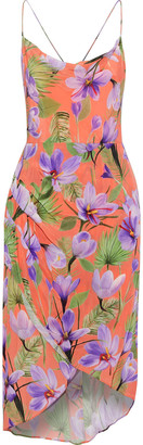 Alice + Olivia Reena Open-back Floral-print Cupro Dress