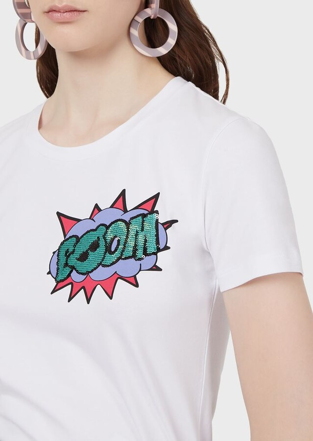 Thumbnail for your product : Emporio Armani Manga Bear Boom Print Stretch Jersey T-Shirt With Sequins
