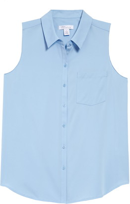 Nordstrom Signature Sleeveless Stretch Silk Shirt