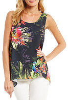 CeCe Sleeveless Jungle Parakeet Top