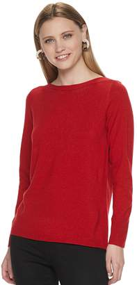 Apt. 9 Petite Boatneck Lurex Tunic Sweater
