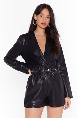 Nasty Gal Womens Set Me V-Neck Faux Leather Romper - Black