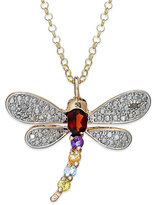 Townsend Victoria 18k Gold over Sterling Silver Necklace, Multistone Dragonfly Pendant (5/8 ct. t.w.)