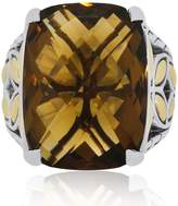 John Hardy Batu Kawung Two Tone Sterling Silver And 18K Yellow Gold Smoky Quartz Ring Size 6.5