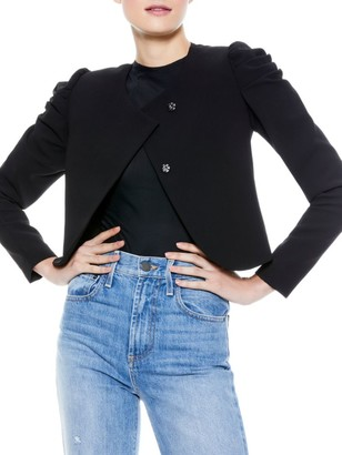 Alice + Olivia Addison Puff-Sleeve Cropped Jacket