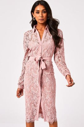 Paper Dolls Grosvenor Dusty Blush Lace Midi Shirt Dress