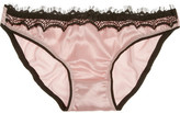 Mimi Holliday Bisou Bisou Strawberry lace-trimmed stretch-silk satin briefs