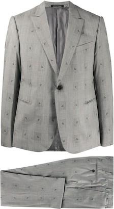 Emporio Armani Embroidered Logo Glen-Check Suit