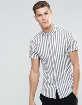 Asos Skinny Striped Shirt In Khaki With Short Sleeves