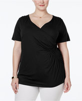 INC International Concepts Plus Size Faux-Wrap Top, Only at Macy's