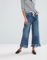 Current Air Wide Leg Jean with Unravelled Hem