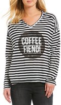 Jessica Simpson Elani Striped Coffee Fiend Long Sleeve Graphic Tee