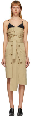 Rokh Beige Twisted Trench Dress