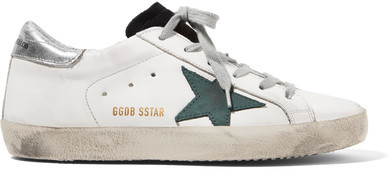 Golden Goose Deluxe Brand Super Star Distressed Leather And Suede Sneakers - White