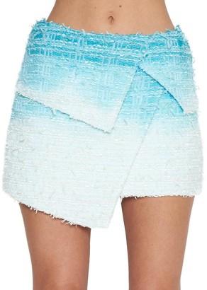 Balmain Tweed Dye Asymmetric Mini Skirt