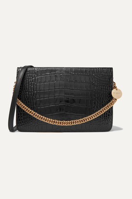 Givenchy Gv Cross Croc-effect And Smooth Leather Shoulder Bag - Black