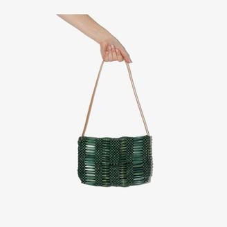 Aranaz green Clara beaded shoulder bag