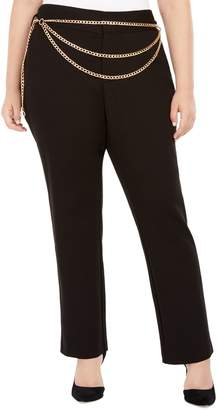 INC International Concepts Plus Chain Belt Straight-Leg Pants
