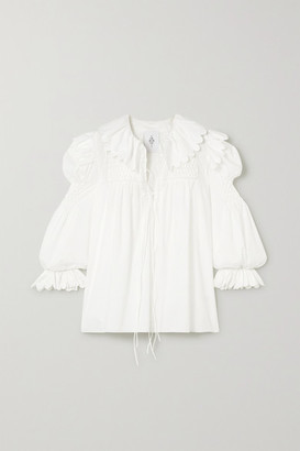 Horror Vacui Defensia Lace-up Scalloped Cotton-poplin Blouse - White