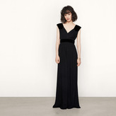 Maje Long dress with suede insets
